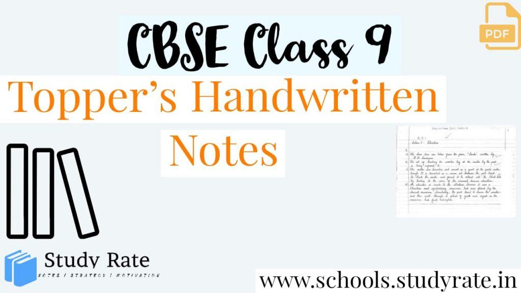 Class 9 CBSE Science Handwritten Notes